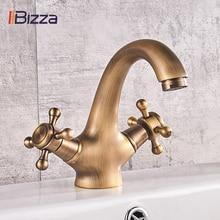 Iibizza antigo torneira de água quente e fria bronze escovado pia do banheiro torneiras cisne bacia vintage dupla alça mixer