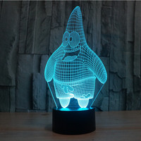 American Cartoon Party Supplier Color Changing Heart Bear Cute Anime Character 3D Visual Light Illusion Table