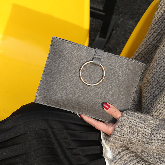 2017 new Korean women new winter fashion envelopes simple hand bag all-match ring clutch