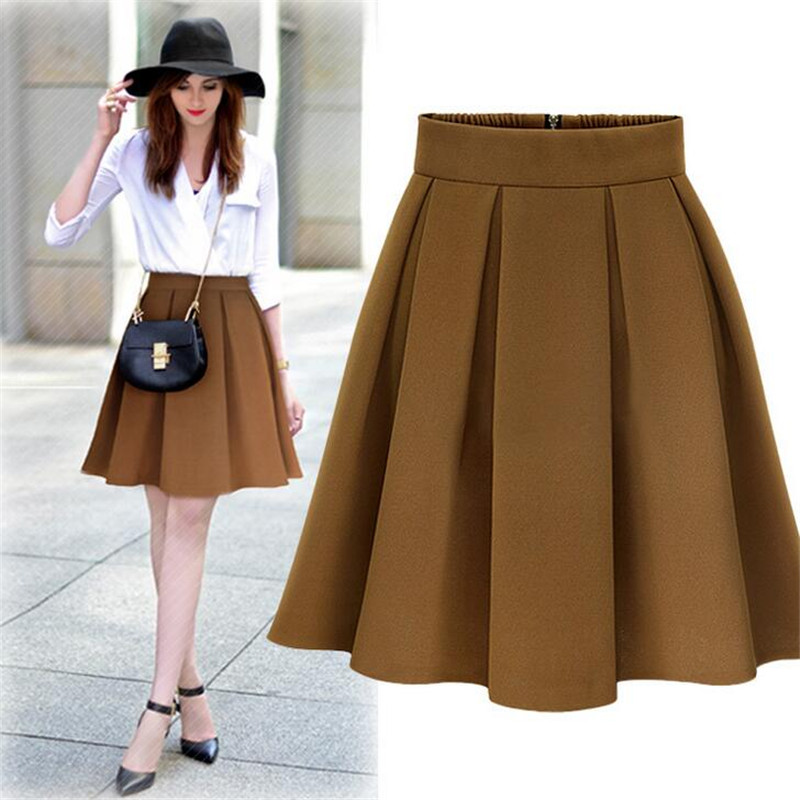 Aliexpress.com : Buy Winter Pleated Skirt Woman Skater High Waist ...