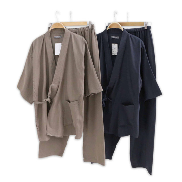Hot sale 100% gauze cotton kimono pajamas mens simple short sleeve japanese  Robe sets for 0470cafa1