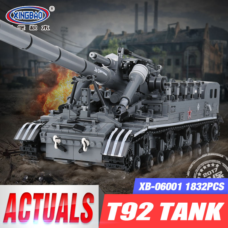 XingBao 06001 1389Pcs Creative MOC Military Series The T92 Tank Set Children Educationl Building Blocks Bricks Toys Model Gifts hot modern military t92 tank moc building block model bricks toys collection for adult children gifts