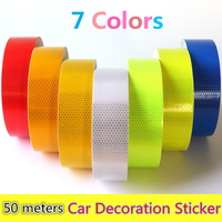 Wholesale 5cmx50m Reflective Strips Motorcycle Safety Mark Auto Decoration Car Body Stickers PVC Self Adhesive Warning Tape