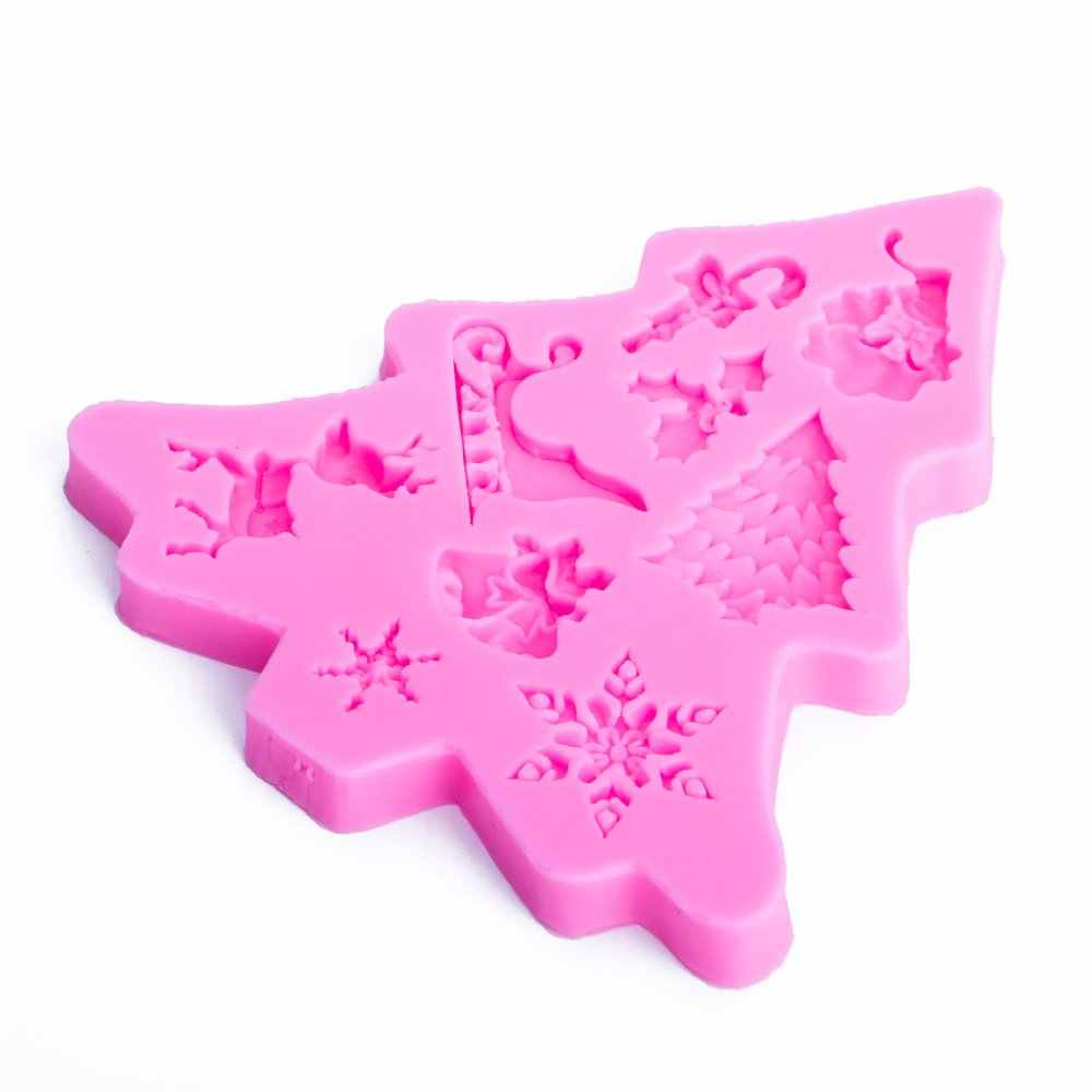 Christmas tree shape 3D หัตถกรรมบรรเทาช็อกโกแลตขนมแม่พิมพ์ซิลิโคน Fondant เค้กตกแต่งห้องครัวเครื่องมือ DIY FT - 1101
