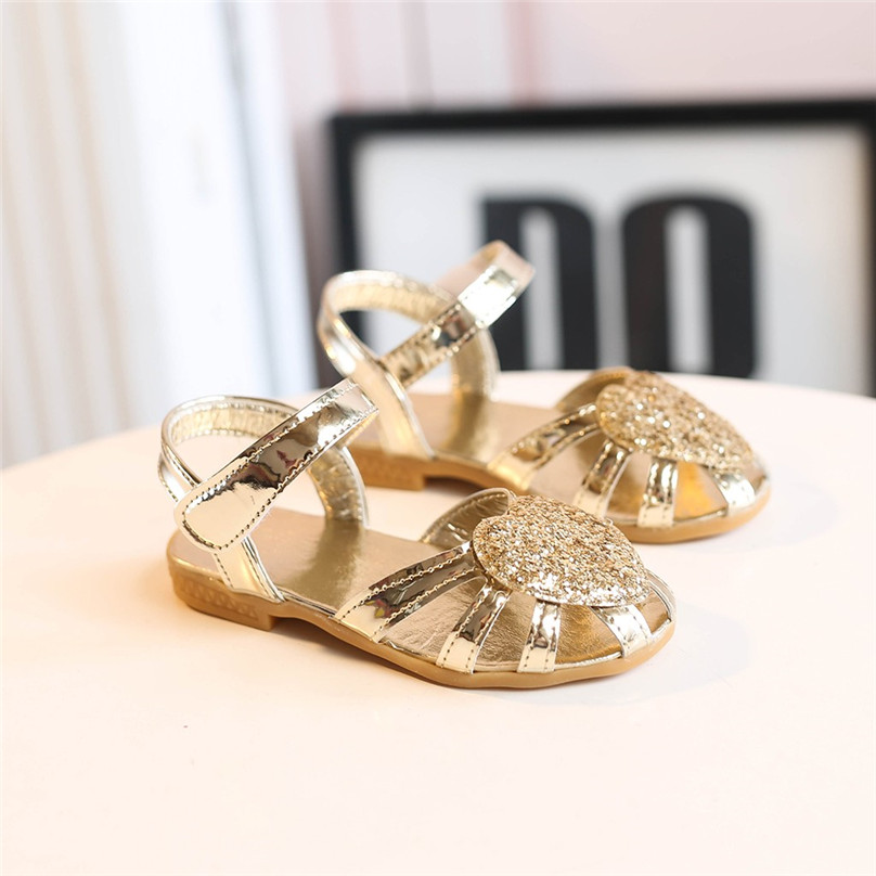 Baby Bling Shoes Pu Leather Infant Children Kids Baby Girls Cute Heart Bling Sequins Sandals Princess Casual Shoes 4JJ