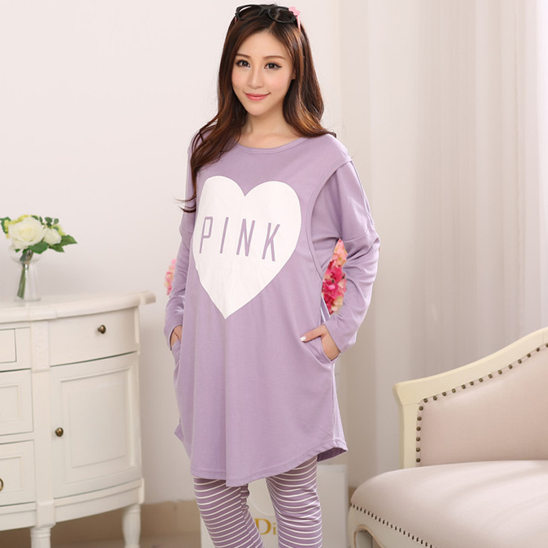 Spring and Autumn New Long-sleeved Milk Silk Purple Moonlight Clothing for Pregnant Women Breast-feeding Pajamas and Pants Suit