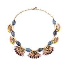 La moda de la personalidad de la aleación Retro en forma de abanico Collar del Collar 2016 nuevos declaración Bib joyería de fantasía Vintage Bijoux