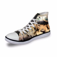 Noisydesigns Girls sneakers women casual vintage vulcanized shoes high top footwear pet dog with glass 3D print flat canvas shoe