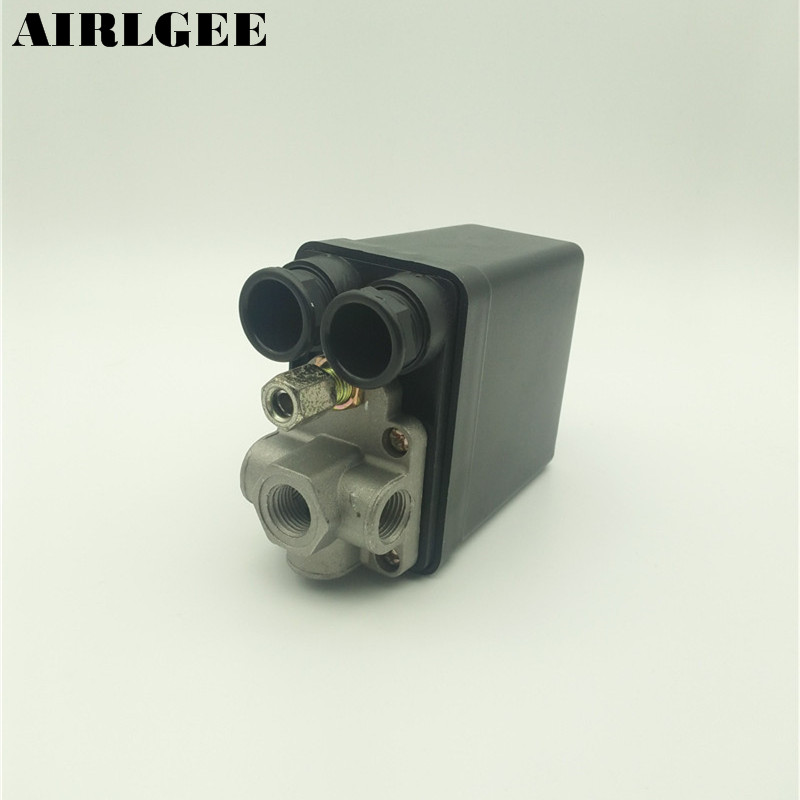 AC 220V 20A 175PSI 4-Port Air Compressor Pump Pressure Switch Control Valve 380v 16a 50 100psi 1 port air compressor automatic pressure switch control valve