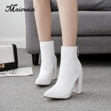MAIERNISI Hot Brand New Pointed Toe Women Nude Ankle Black White 10CM H Heels Lady Party Shoes lady Plus Big Size цена в Москве и Питере