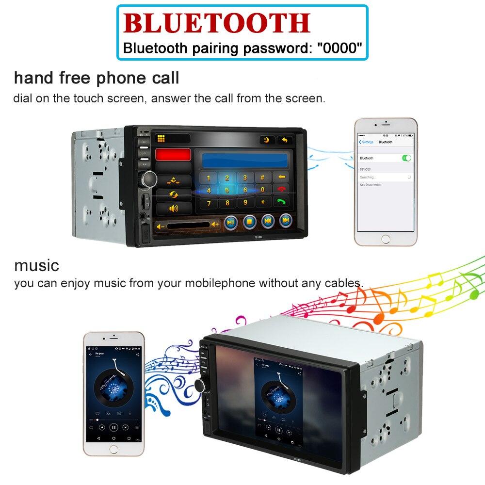 7 HD Bluetooth Touch Screen Car Stereo Radio 2 DIN MP5 Vedio Player+Camera+DVR