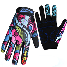 Qepae odporne na wstrząsy rękawice rowerowe pełne rękawiczki Fitness mężczyźni kobiety Skid Bike Outdoor Sports ciepłe rękawiczki kolorowy ekran