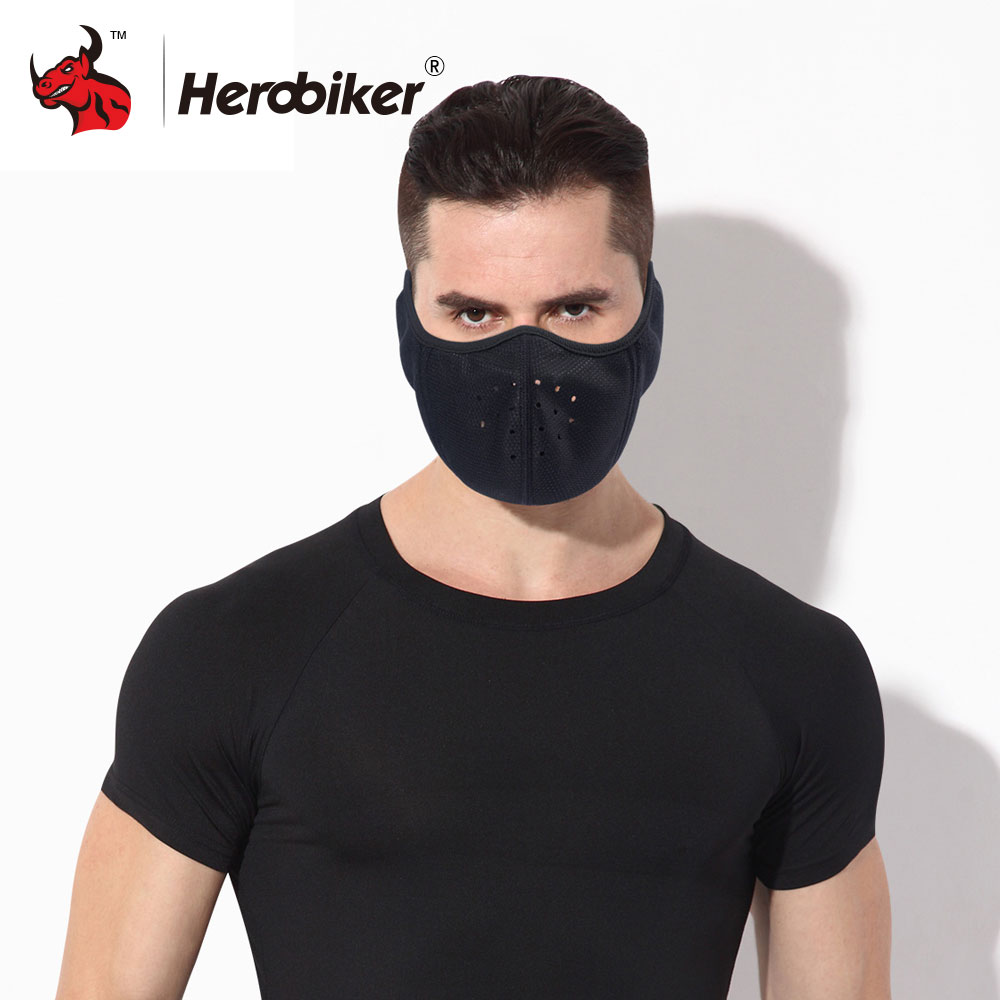 HEROBIKER Motorcycle Face Mask Balaclava Motorcycle Windproof Ear Mask Motorcycle Bicycle Warm Half Face Masks Dust Mask