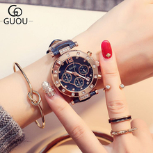 Reloj femenino GUOU tres vasos con calendario reloj luminoso grande reloj damas reloj reloj reloj de diamantes mujer Relojes para mujeres
