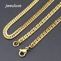 Акция! 3 мм Ширина Нержавеющей Стали 316L Золотая Цепь Ожерелье Для Мужчин оптовая Бесплатная Доставка KN005