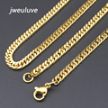 Promotion! 3mm Width 316L Stainless Steel Gold Chain Necklace For Men wholesale Free Shipping KN005