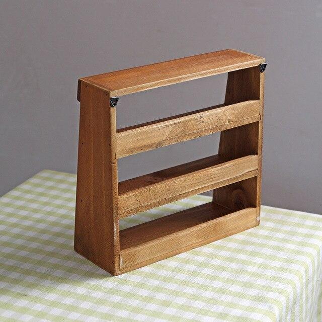 1pc Vintage Retro Wooden Shelf Three Layer Furniture Storage Cabinet Box Wall Rack 24cm