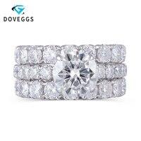 DovEggs 14 к Solid White Gold 3ct 9 мм F цвет обручальное кольцо набор колец с акцентом элегантный Вечность Обручальное кольцо для женщин