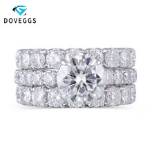 DovEggs 14K Solid White Gold 3ct 9mm F Color Moissanite Engagement Ring Set with Accent Elegant Eternity Wedding Band for women