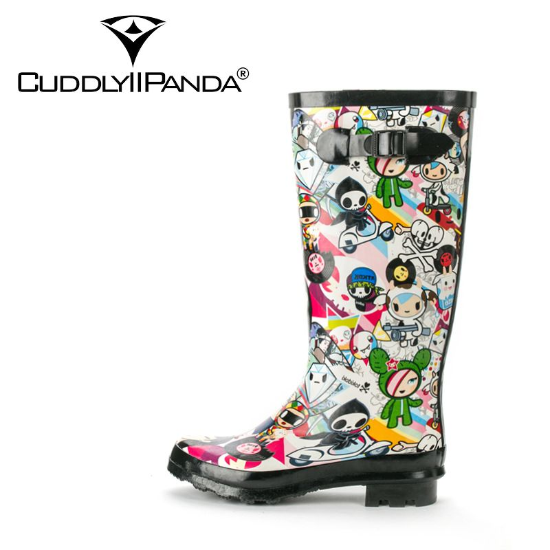 2017 New Arrival Cartoon Print Waterproof Rain boots Women Knee High Boots Buckle Strap Funny Botas