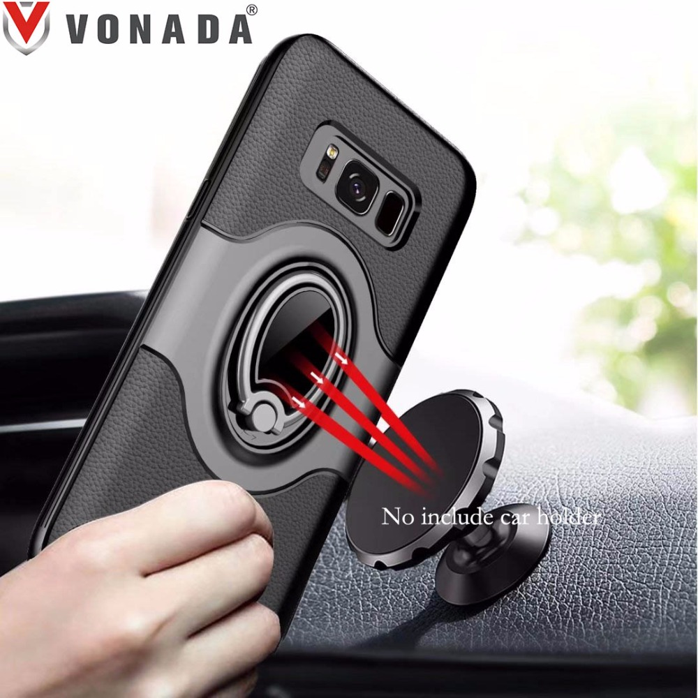 Finger Ring 360 Degree Rotation Magnet Car Holder TPU PC Hybrid Shockproof Phone Case Cover for Samsung Galaxy S8 S8 Plus