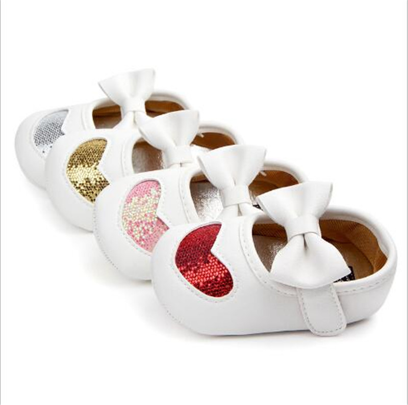 Lovely  PU Leather Shoes Big Bow Infants Antislip First Walkers Girls Princess Shoes