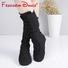 Dance-Boots Karate-Shoes Dancing-Sneakers Canvas Jazz Yoga-Fitness Lace-Up for Studios