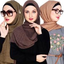 Hijab Shawl-Wrap Foulard Instant-Scarf Turkish Turban Crinkled Musulman Islamic Cotton