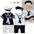 Menino da criança do bebê infantil do marinheiro da marinha de verão manga curta coberto botão 2 cores romper + cap set roupas de menino bebe marina