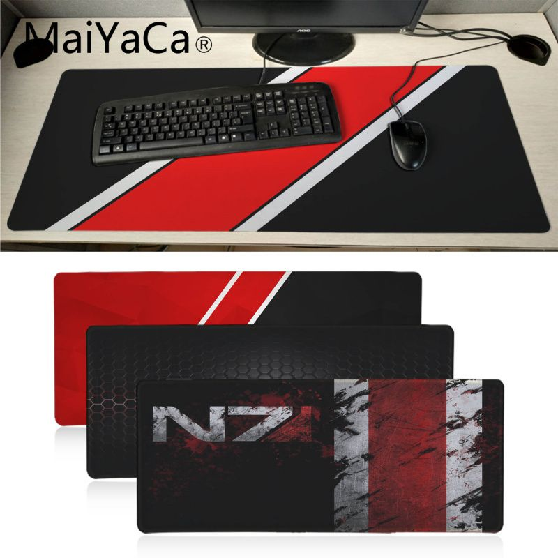 MaiYaCa  Mass Effect N7 Game Logo Rubber Pad To Mouse Game Anime Cartoon Print Large Size Game Mouse Pad Keyboard Mat Desk Mat