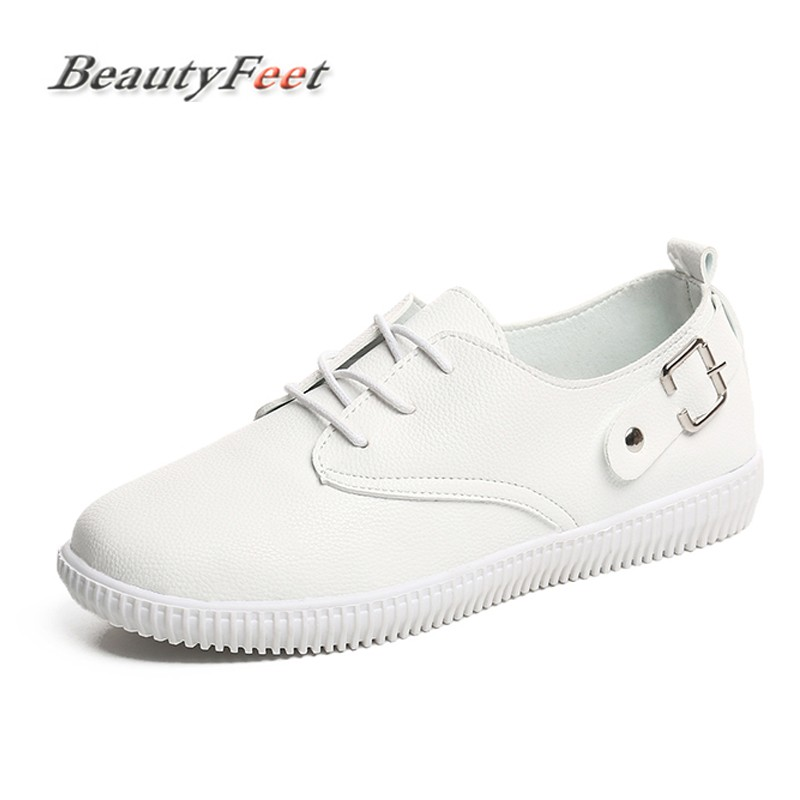 BeautyFeet Women Shoes Pu Leather Preppy Style Lace Up Casual Shoes Woman Flat Office Lady Soft Fashion Moccasins Shoes Zapatos new brand black white vintage women footwear lace up casual oxford flat shoes woman british style breathable zapatos mujer