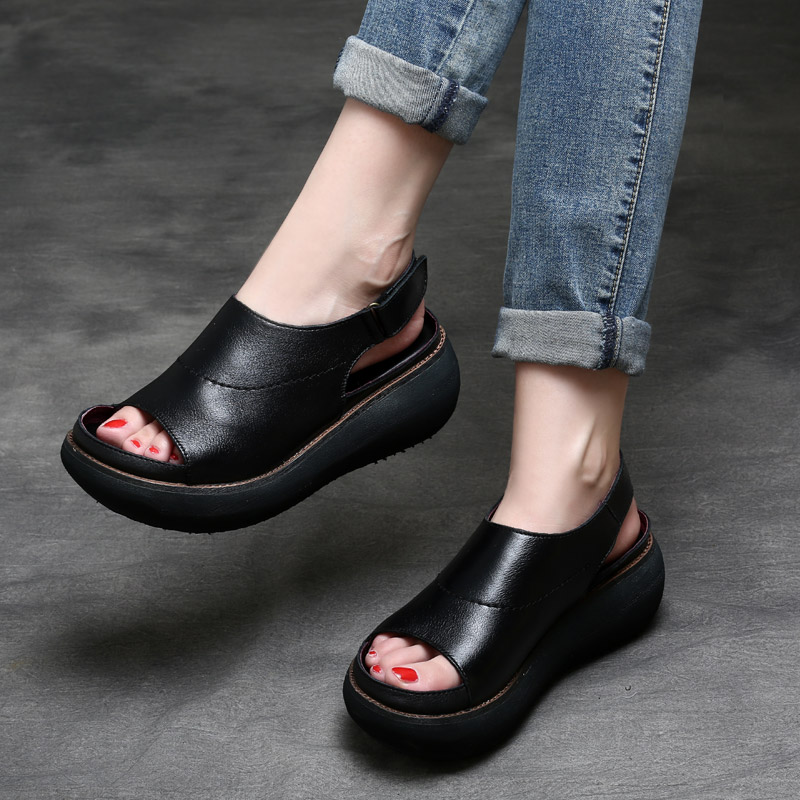 Tyawkiho Genuine Leather Women Sandals Black 6 CM High Heels Summer Shoes 2018 Ladies Sandals Soft
