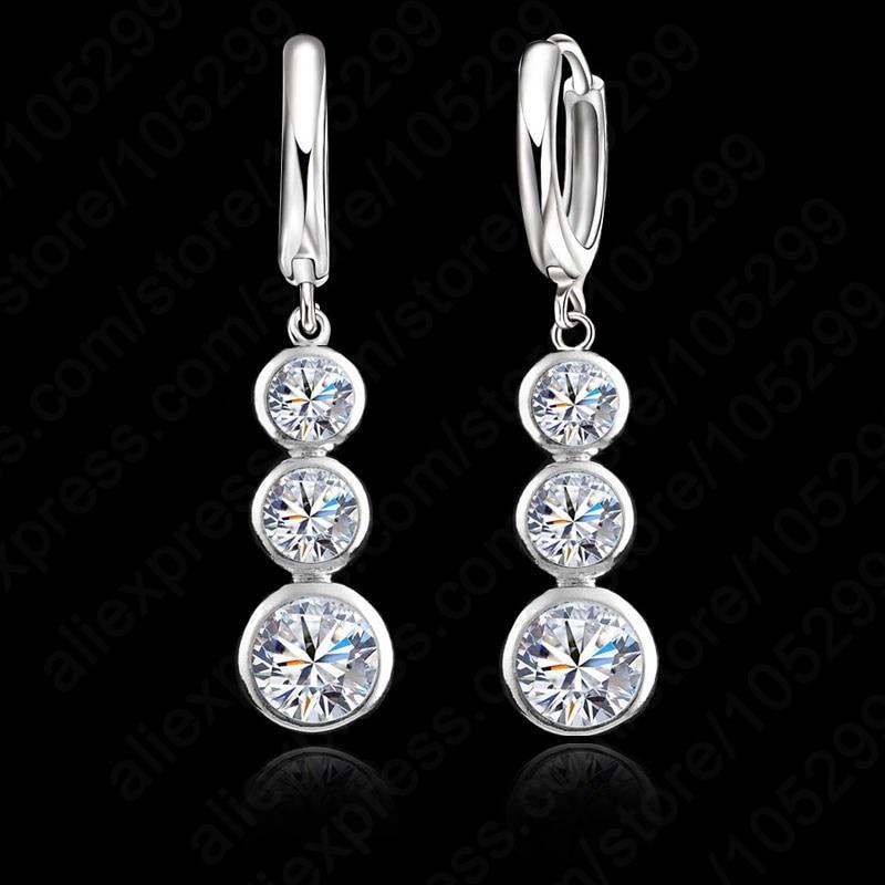 European Simple 925 Sterling Silver Drop Earrings Jewelry Women Austrian Crystal Dangle Earring For Wedding Bijoux