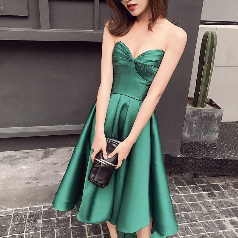 New Arrival Taffeta Asymmetrical Emerald Green Cocktail Dresses Sweetheart Sleeveless Robe De Cocktail Mi Longue 0103B 2