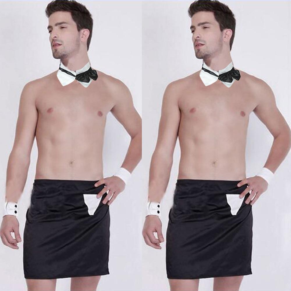 Eerlijkheid Nieuwe Novelty Sexy Mannen Mankini String Ondergoed Ober Kostuum Hot Bodysuit Lingerie Slips Schort Tie Tie Armbanden Gratis Grootte