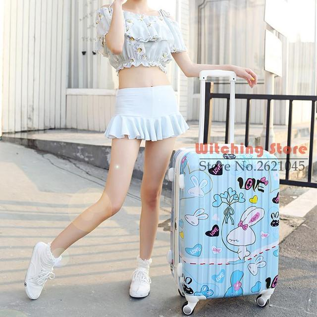 24 INCH  202428# An agent the universal wheel rod box suitcase direct cartoon students #EC FREE SHIPPING