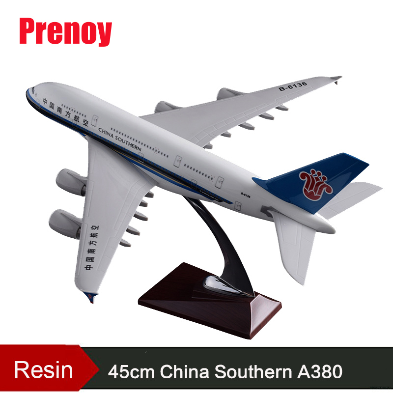 45cm A380 China Southern Airlines Airplane Model Resin Aviation China Southern Airbus A380 Airways Scale Model Creative Gift Toy 36cm resin a380 qatar airlines airbus model qatar international aviation airways aircraft model a380 airplane plane model toy