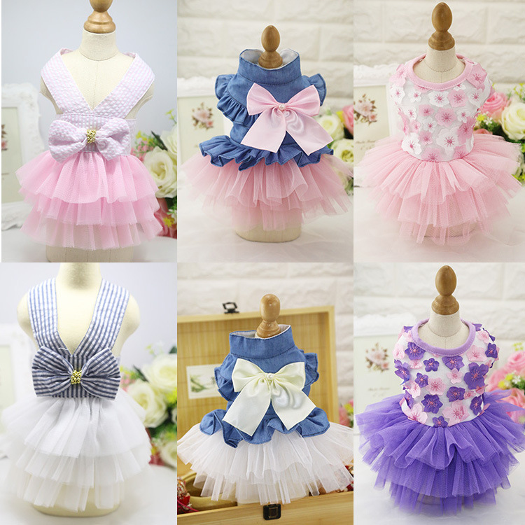 New Cute Dog Dress Princess Bowknot Dress Skirt Summer Pet Dog Puppy Clothes Short Sleeve Dress XS-XXL 10 Style