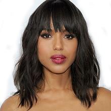 HAIRJOY Synthetic Wig Women Natural Wave Hair Full Bangs Black Medium Length  Daily Dress
