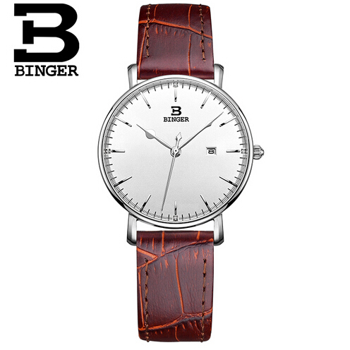 ФОТО Switzerland Wristwatch BINGER watches Women luxury brand Quartz waterproof Leather stainless steel Watch Wristwatches