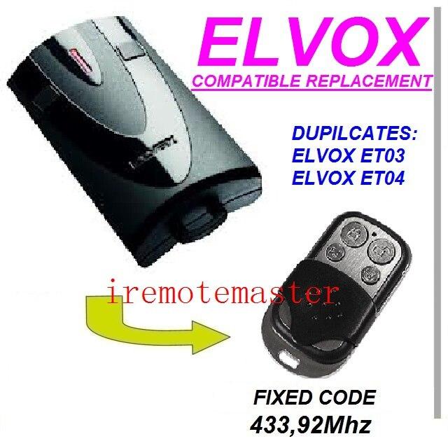 Et04 Garagentor Ersatz Fernbedienung Analytisch Elvox Et03 -fernbedienung