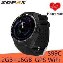 99C Relógio Inteligente Android 5.1 MTK6580 Quad Core 1.3 GHz 2 GB de RAM 16 GB ROM Suporte 3G GPS WIFI Google Play para android Smartwatch IOS
