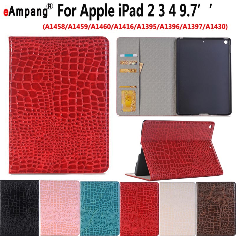 Case for Apple iPad 2 3 4 iPad2 iPad3 iPad4 9.7 Smart Case Cover Funda Tablet Crocodile Leather Smart Sleep Slim Stand Shell business retro leather case for ipad 2 3 4 case for ipad2 ipad3 ipad4 flip stand smart cover protective shell skin funda