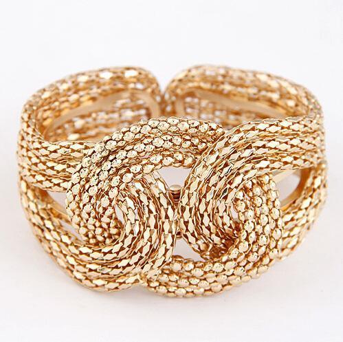 F&U 2015 NEW fashion gold and silver Color punk hip hop bangles upper arm bracelet for women #10100911