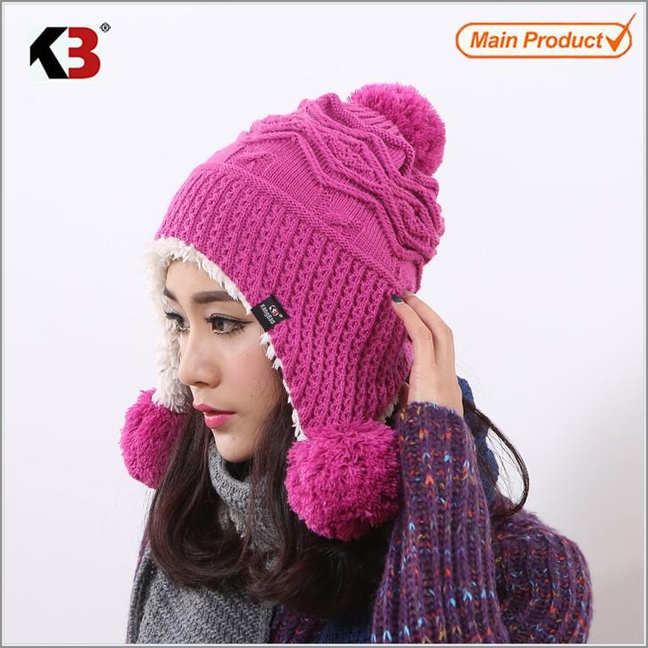 Winter Warm Thick Crochet Knit Pom Pom Beanie Winter Ski Hat with Fleece Lining Windproof (5)