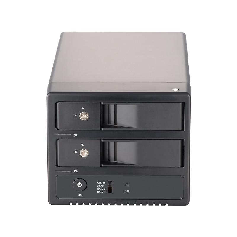 3.5 inch SATA dual front bay external HDD/SSD hard drives enclosure support hot swap, USB3.0&eSATA, RAID0/RAID1/JBOD/SPAN, lock