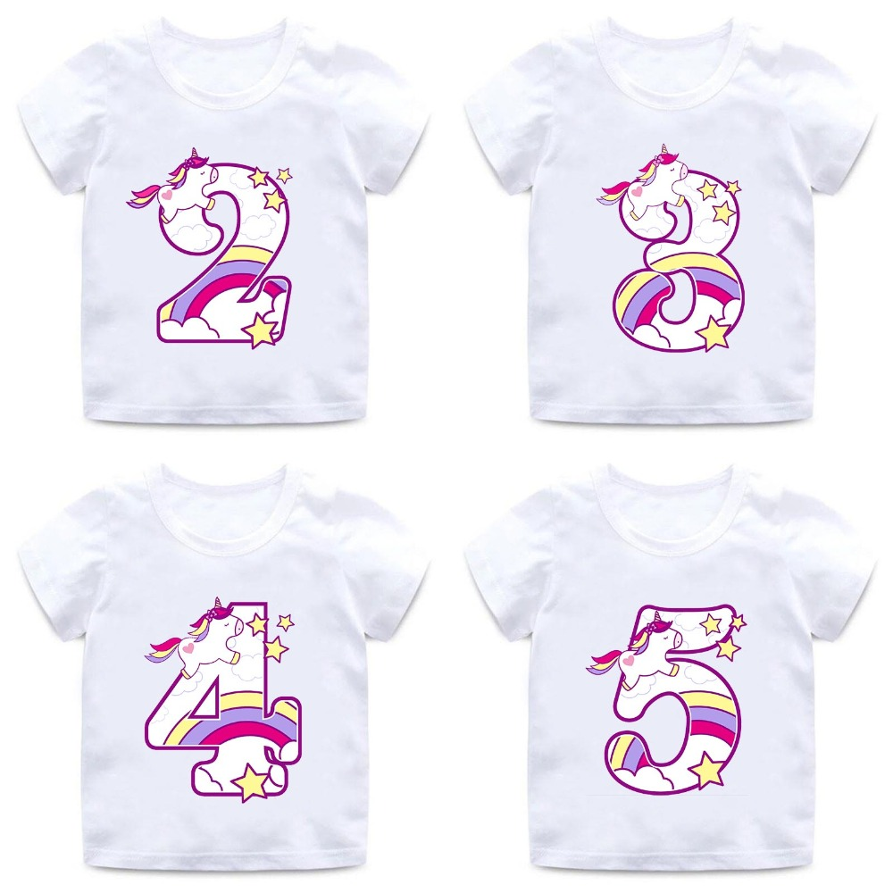Boys Girls Happy Birthday Unicorn Number 1 9 Bow Print T Shirt Baby Cartoon Funny Kids Present ClothesHKP5238
