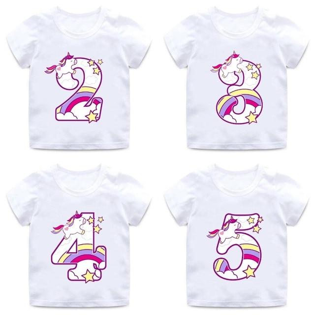 Boys Girls Happy Birthday Unicorn Number 1 9 Bow Print T Shirt Baby Cartoon