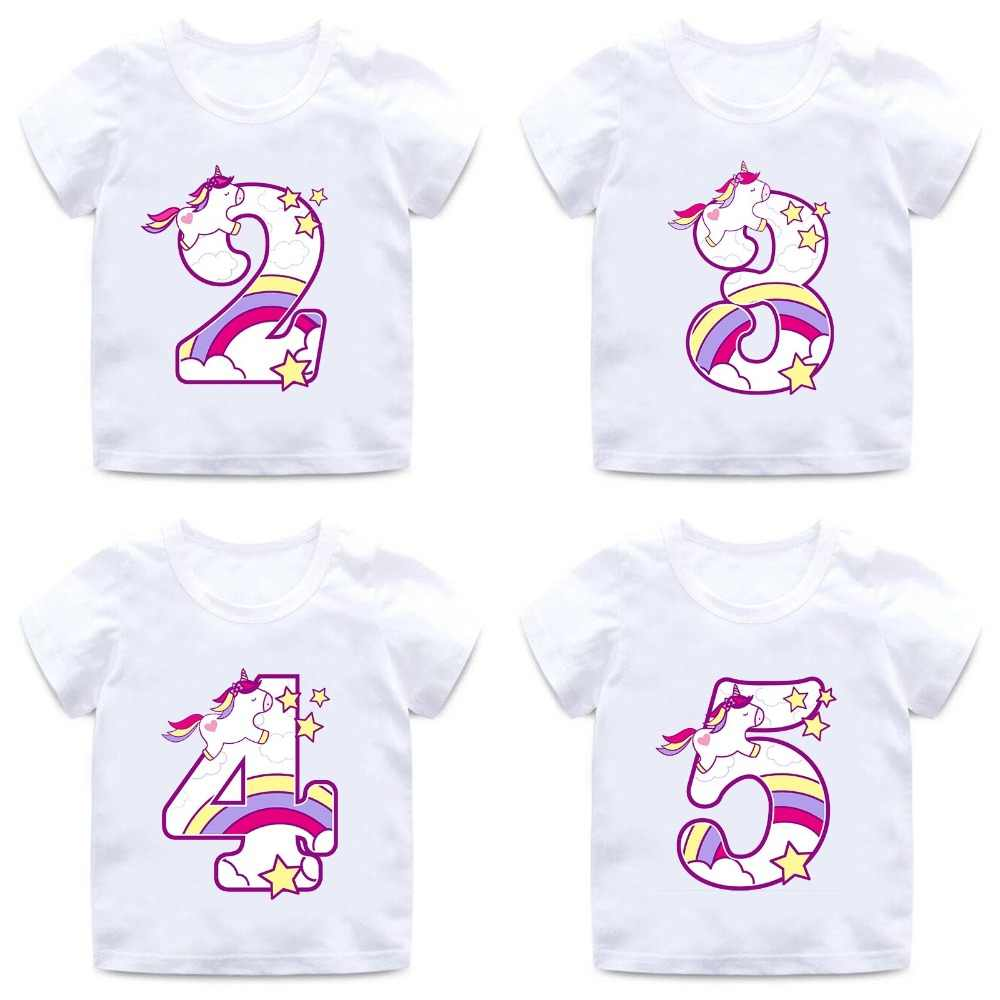 Detail Feedback Questions About Boys Girls Happy Birthday Unicorn Number 1 9 Bow Print T Shirt Baby Cartoon Funny Kids Present Clothes