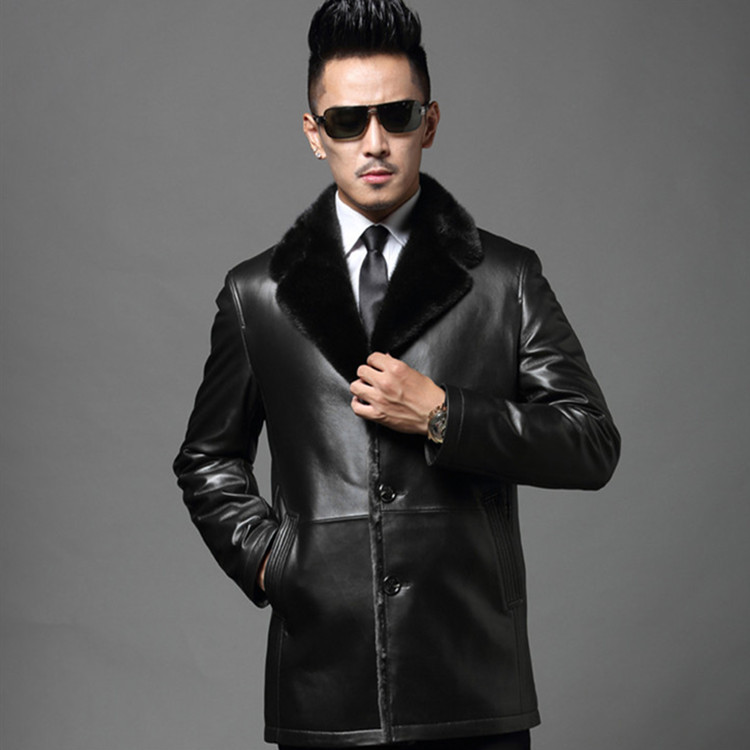 2017 New Fashion Brand Composite Sheepskin Leather Jacket Fur Collar Design Warm Casual Leather Jacket Free Shipping